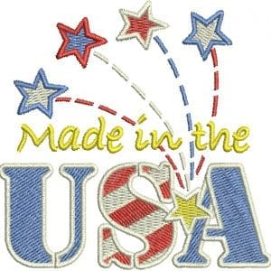 Made in the USA and Stars & Ribbons Flourish