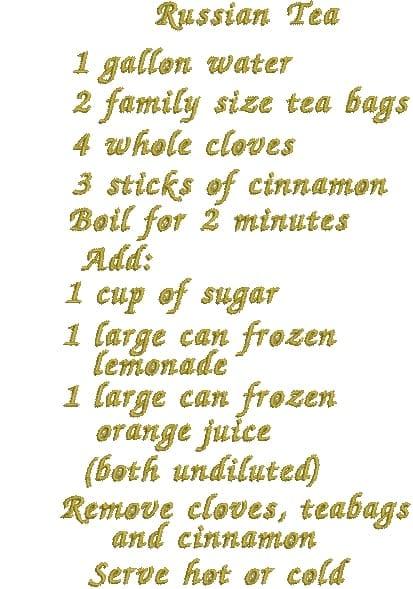 Teapot, Cup & Saucer and Russian Tea Recipe