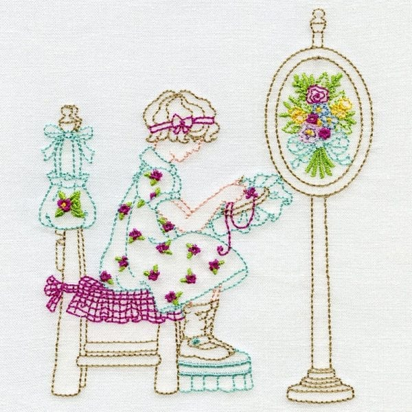 Sewing Lady and Bouquets
