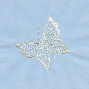 Whitework Flowers and Butterflies