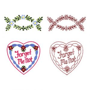 Forget-Me-Not Spray and Ribbon Heart