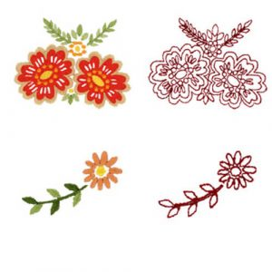 Jeweled Floral Designs 1 & 2