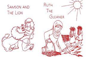 Old Testament Redwork Quilt Designs
