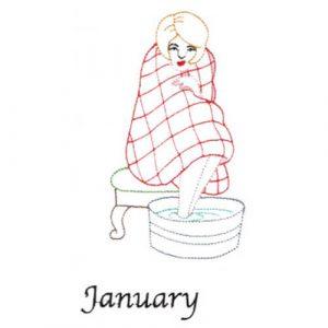 Warming Up (January Old-Time Color-Line Quilt Design)