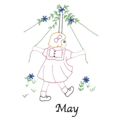 Maypole (May Old-Time Color-Line Quilt Design)