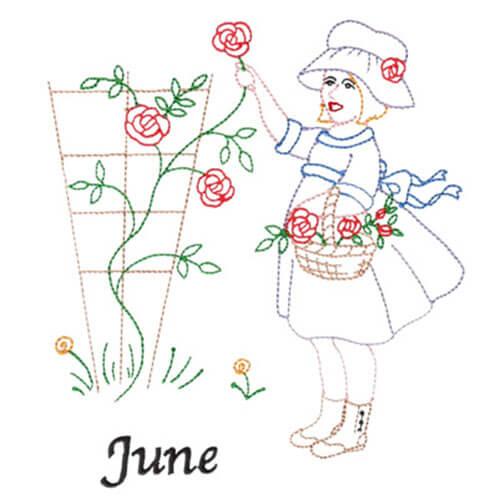 Picking Roses (June Old-Time Color-Line Quilt Design)