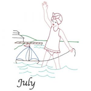 Girl & Sailboat Toy at the Beach (July Old-Time Color-Line Quilt Design)