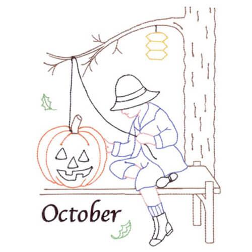 Halloween (October Old-Time Color-Line Quilt Design)