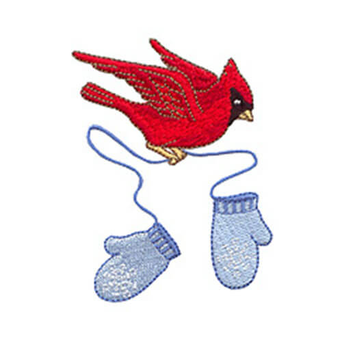 Holiday Mitterns Swag & Redbird with Snowflake Mittens