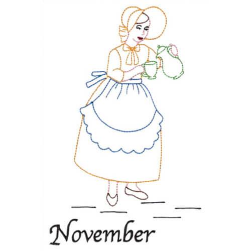 Pouring Tea (November Old-Time Color-Line Quilt Design)