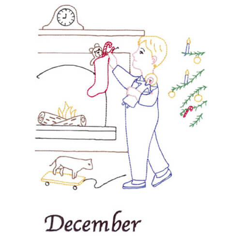 Hanging Stockings (December Old-Time Color-Line Quilt Design)
