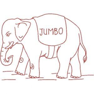 Jumbo Elephant (Redwork Quilt Design)