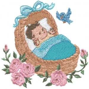Baby in Cradle and Springtime Chick & Butterfly