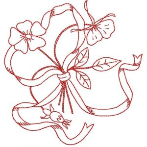 Flowers Tied with Ribbon (Redwork Quilt Design)