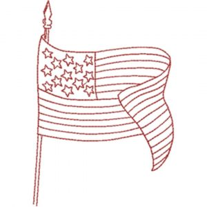 American Flag (Redwork Quilt Design)