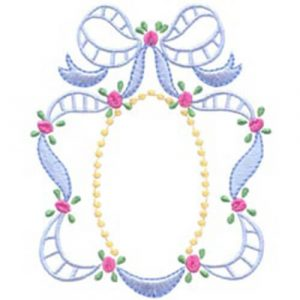 Corner Rosebuds with Bow & Oval Frame with Bow