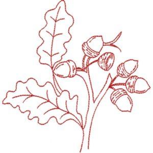Acorns with Leaves (Redwork Quilt Design)