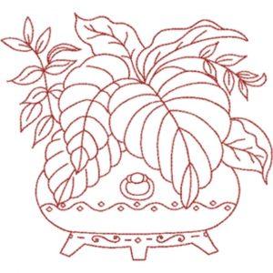 Plant Arrangement in Container (Redwork Quilt Design)