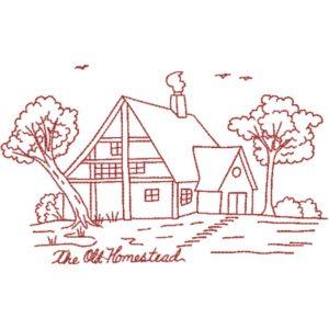 The Old Homestead (Redwork Quilt Design)