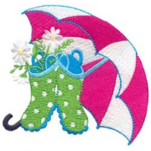 Umbrella, Boots & Flowers and Mitten