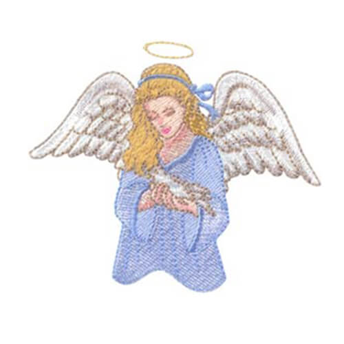 Adult Angel Holding Dove and Angel on Duty