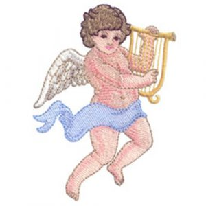 Angel Playing a Lyre and Protected by Angels