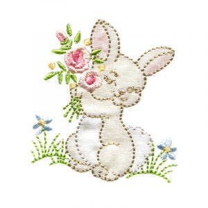 Bunny and Lamb in Fabric Shadow Applique and Happy Easter Towel