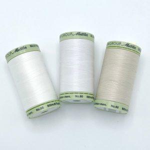 Mettler Silk Finish 60wt 875 yds Candlewick, Pine Nut, White